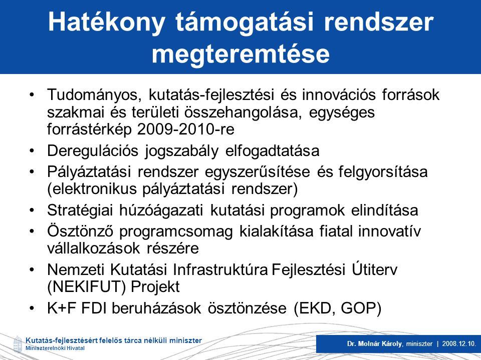 Kutatás-fejlesztésért felelős tárca nélküli miniszter Miniszterelnöki Hivatal Dr.