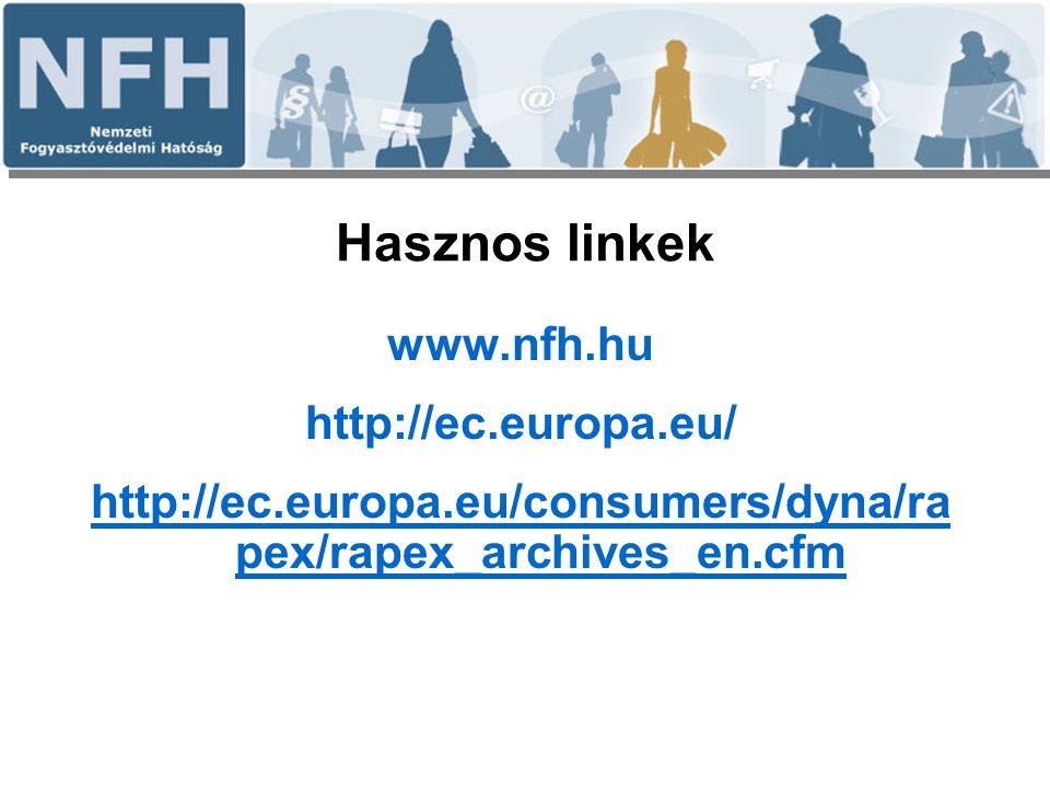 Hasznos linkek www.nfh.hu http://ec.europa.eu/ http://ec.europa.eu/consumers/dyna/ra pex/rapex_archives_en.cfm