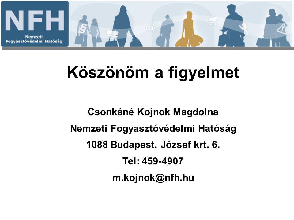 Köszönöm a figyelmet Csonkáné Kojnok Magdolna Nemzeti Fogyasztóvédelmi Hatóság 1088 Budapest, József krt. 6. Tel: 459-4907 m.kojnok@nfh.hu