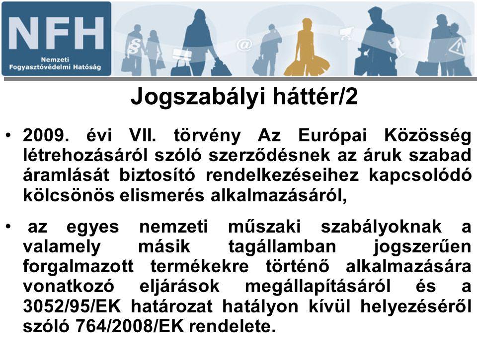 Jogszabályi háttér/2 2009. évi VII. törvény Az Európai Közösség létrehozásáról szóló szerződésnek az áruk szabad áramlását biztosító rendelkezéseihez