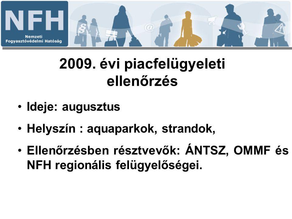 2009. évi piacfelügyeleti ellenőrzés Ideje: augusztus Helyszín : aquaparkok, strandok, Ellenőrzésben résztvevők: ÁNTSZ, OMMF és NFH regionális felügye