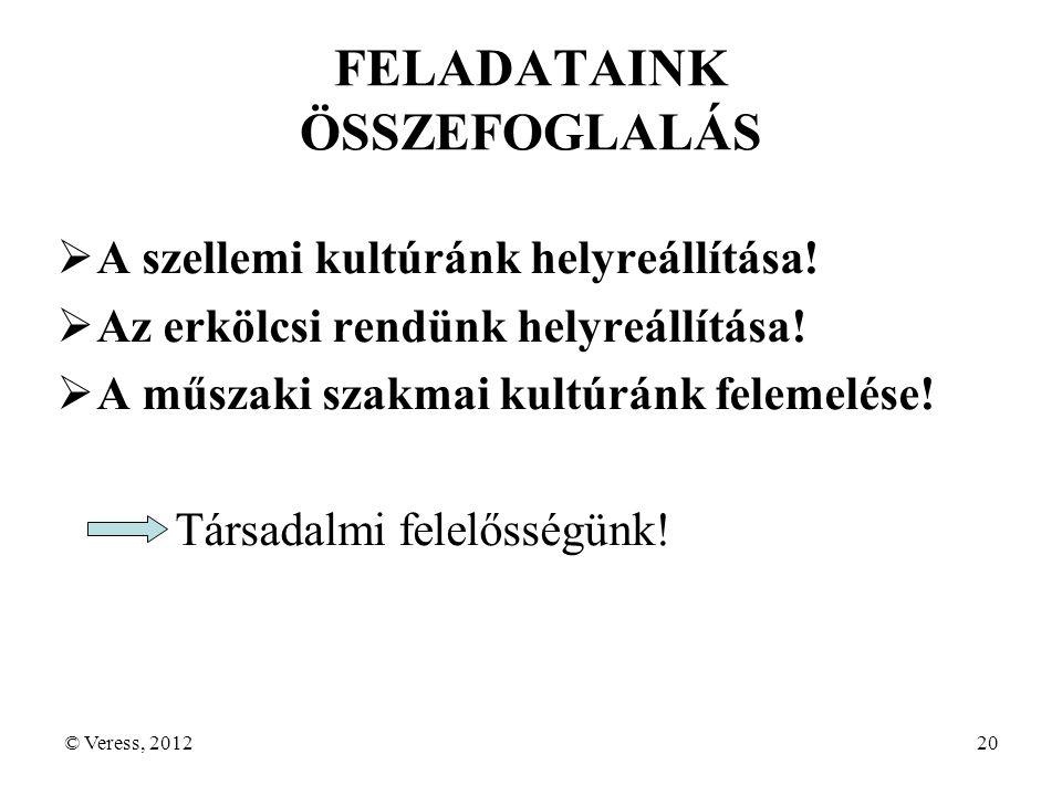 © Veress, 201220 FELADATAINK ÖSSZEFOGLALÁS  A szellemi kultúránk helyreállítása.