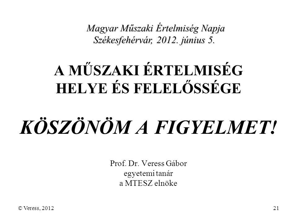 © Veress, 201221 A MŰSZAKI ÉRTELMISÉG HELYE ÉS FELELŐSSÉGE KÖSZÖNÖM A FIGYELMET.