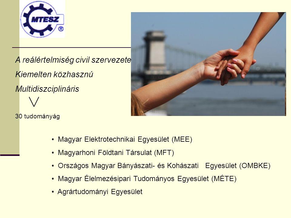 A reálértelmiség civil szervezete Kiemelten közhasznú Multidiszciplináris 30 tudományág Magyar Elektrotechnikai Egyesület (MEE) Magyarhoni Földtani Tá