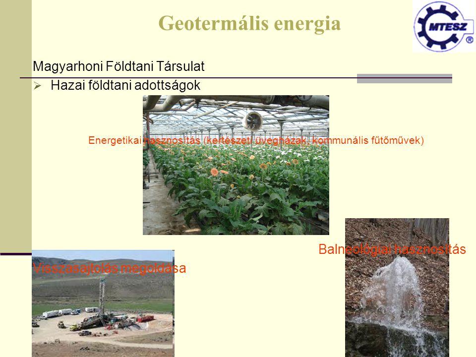 Geotermális energia Magyarhoni Földtani Társulat  Hazai földtani adottságok Energetikai hasznosítás (kertészeti üvegházak, kommunális fűtőművek) Baln