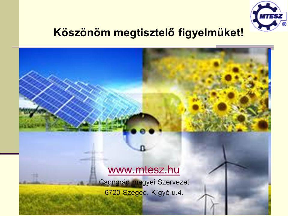 www.mtesz.hu Csongrád megyei Szervezet 6720 Szeged, Kígyó u.4. Köszönöm megtisztelő figyelmüket!