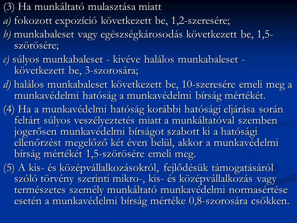 (3) Ha munkáltató mulasztása miatt a) fokozott expozíció következett be, 1,2-szeresére; b) munkabaleset vagy egészségkárosodás következett be, 1,5- szörösére; c) súlyos munkabaleset - kivéve halálos munkabaleset - következett be, 3-szorosára; d) halálos munkabaleset következett be, 10-szeresére emeli meg a munkavédelmi hatóság a munkavédelmi bírság mértékét.