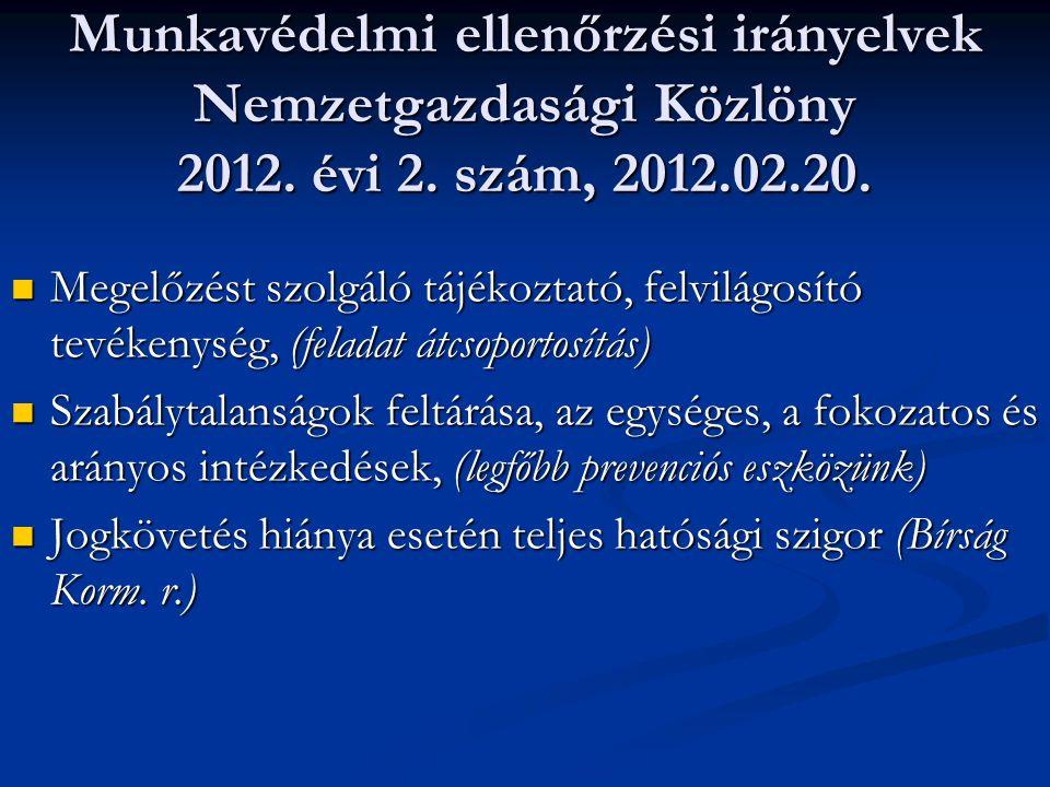 Munkavédelmi ellenőrzési irányelvek Nemzetgazdasági Közlöny 2012.