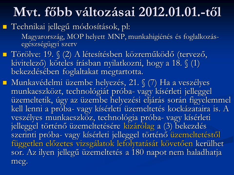 Mvt. főbb változásai 2012.01.01.-től Technikai jellegű módosítások, pl: Technikai jellegű módosítások, pl: Magyarország, MOP helyett MNP, munkahigiéné