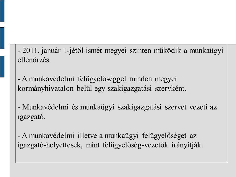 - 2011.január 1-jétől ismét megyei szinten működik a munkaügyi ellenőrzés.