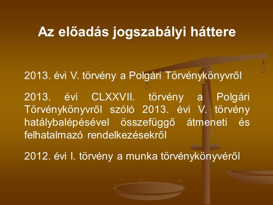 Az előadás jogszabályi háttere 2013. évi V. törvény a Polgári Törvénykönyvről 2013. évi CLXXVII. törvény a Polgári Törvénykönyvről szóló 2013. évi V.