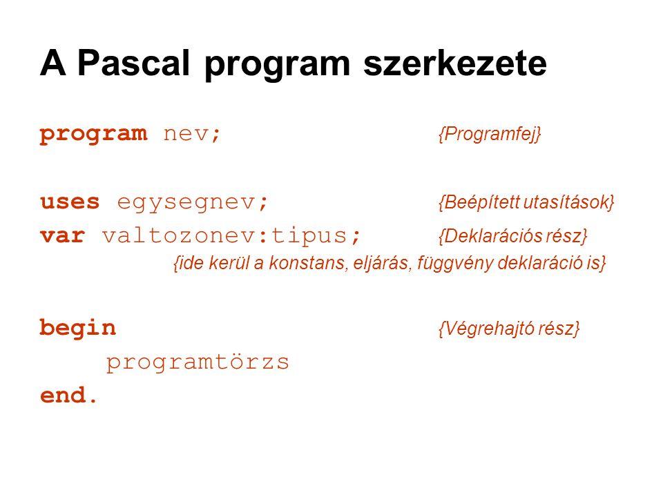 A Pascal program szerkezete program nev; {Programfej} uses egysegnev; {Beépített utasítások} var valtozonev:tipus; {Deklarációs rész} {ide kerül a kon