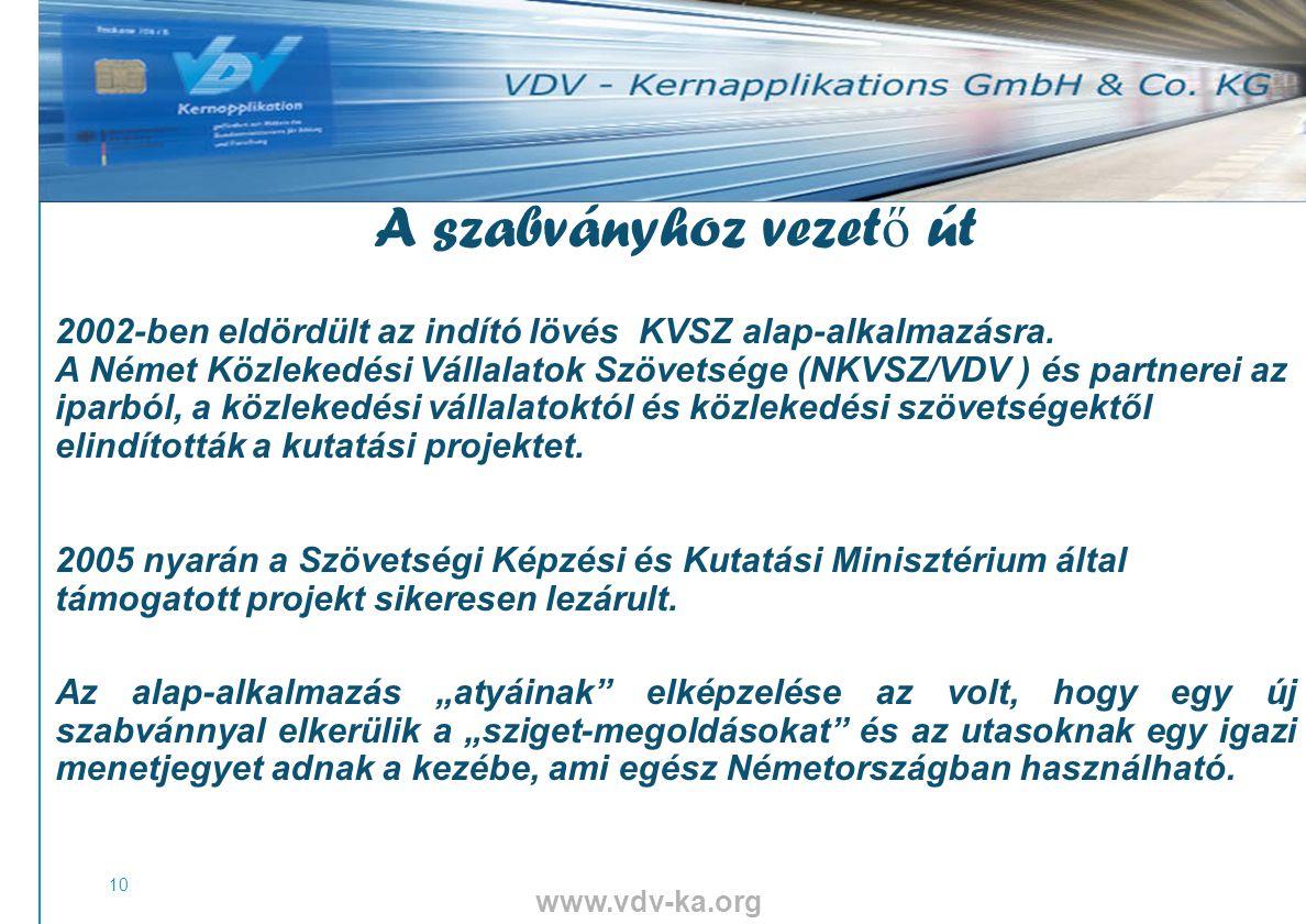 www.vdv-ka.org 10 A szabványhoz vezet ő út 2002-ben eldördült az indító lövés KVSZ alap-alkalmazásra.