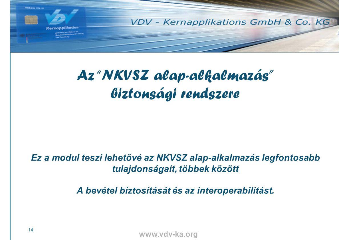 www.vdv-ka.org 14 Az NKVSZ alap-alkalmazás biztonsági rendszere 111111111111111111111111 Ez a modul teszi lehetővé az NKVSZ alap-alkalmazás legfontosabb tulajdonságait, többek között A bevétel biztosítását és az interoperabilitást.