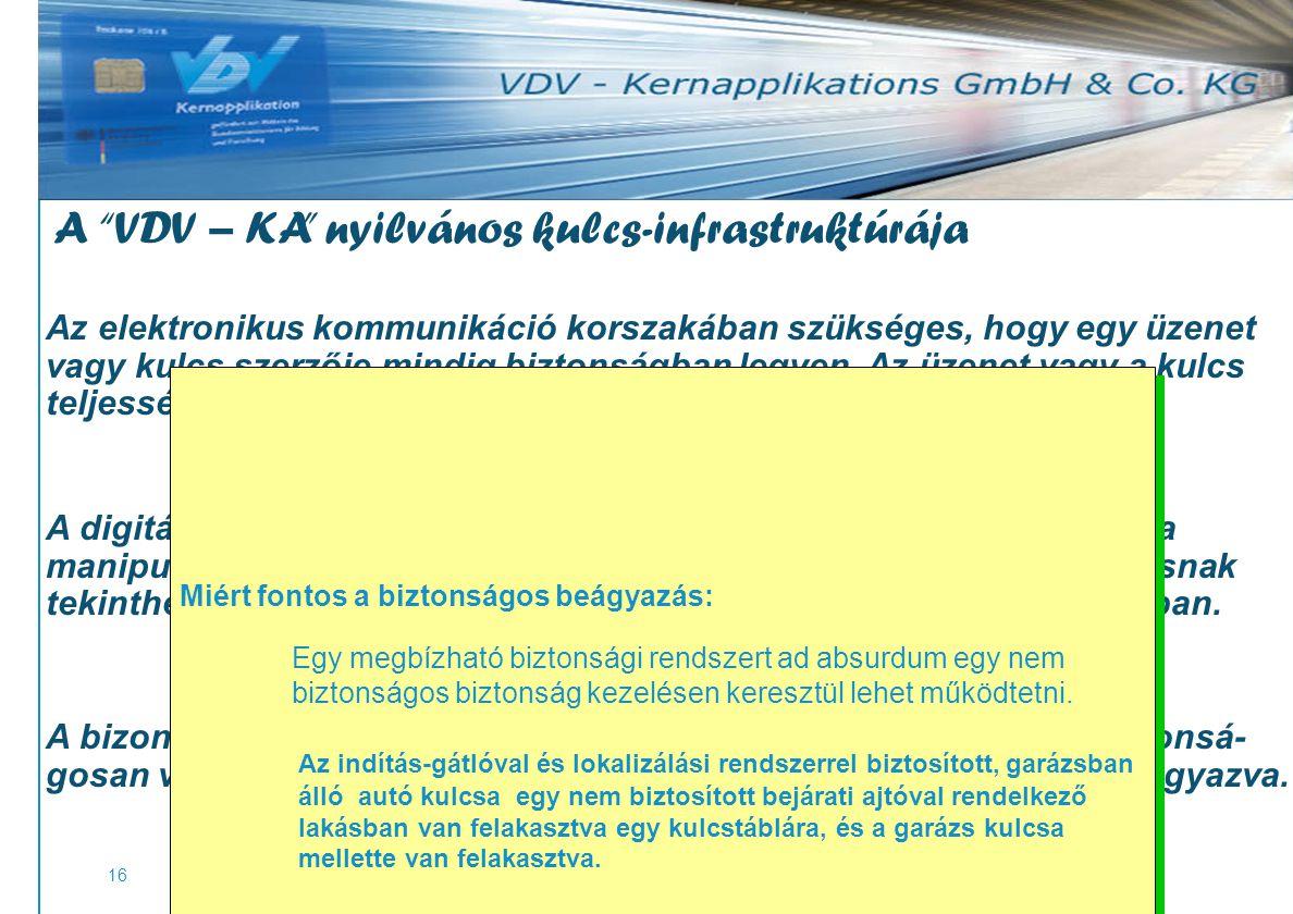 www.vdv-ka.org 16 A VDV – KA nyilvános kulcs-infrastruktúrája Az elektronikus kommunikáció korszakában szükséges, hogy egy üzenet vagy kulcs szerzője mindig biztonságban legyen.