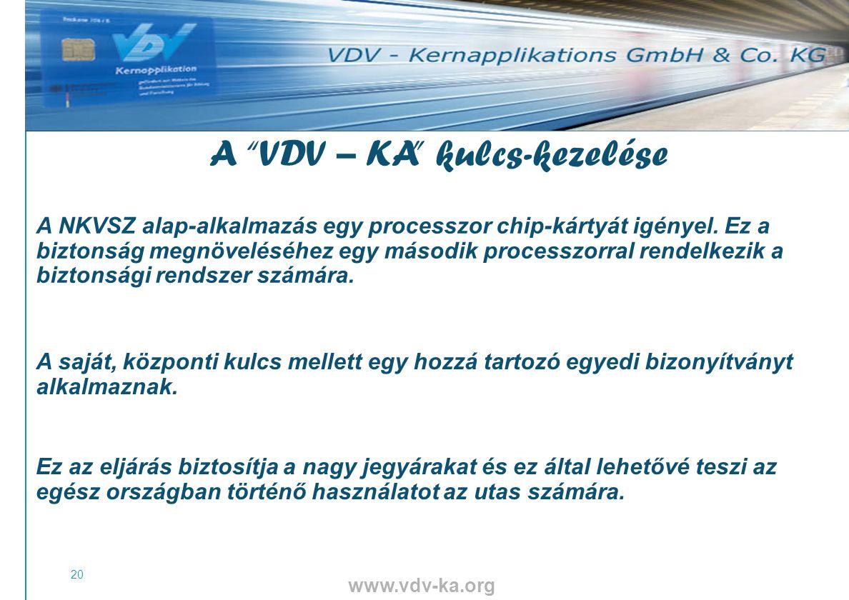 www.vdv-ka.org 20 A VDV – KA kulcs-kezelése A NKVSZ alap-alkalmazás egy processzor chip-kártyát igényel.