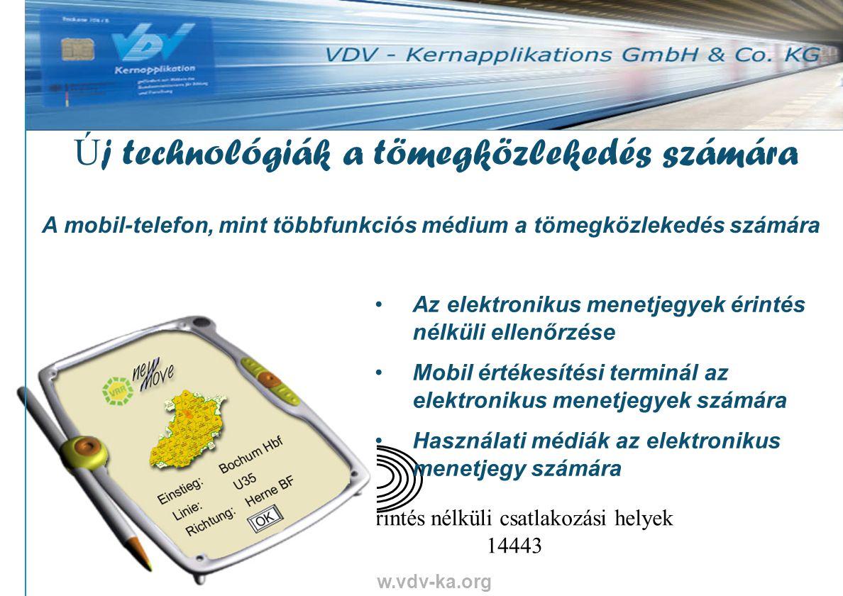 www.vdv-ka.org 33 Érintés nélküli csatlakozási helyek 14443 Az elektronikus menetjegyek érintés nélküli ellenőrzése Mobil értékesítési terminál az elektronikus menetjegyek számára Használati médiák az elektronikus menetjegy számára Ú j technológiák a tömegközlekedés számára A mobil-telefon, mint többfunkciós médium a tömegközlekedés számára