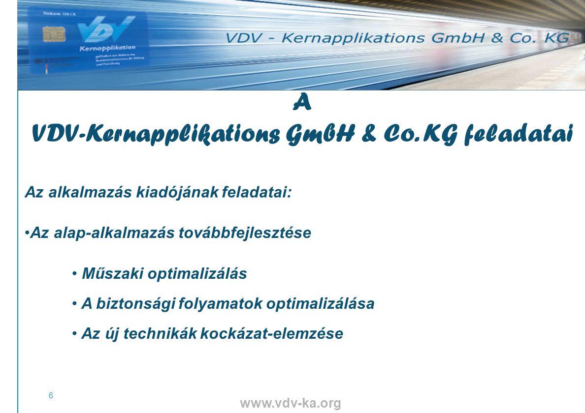 www.vdv-ka.org 6 Az alap-alkalmazás továbbfejlesztése Műszaki optimalizálás A biztonsági folyamatok optimalizálása Az új technikák kockázat-elemzése A VDV-Kernapplikations GmbH & Co.