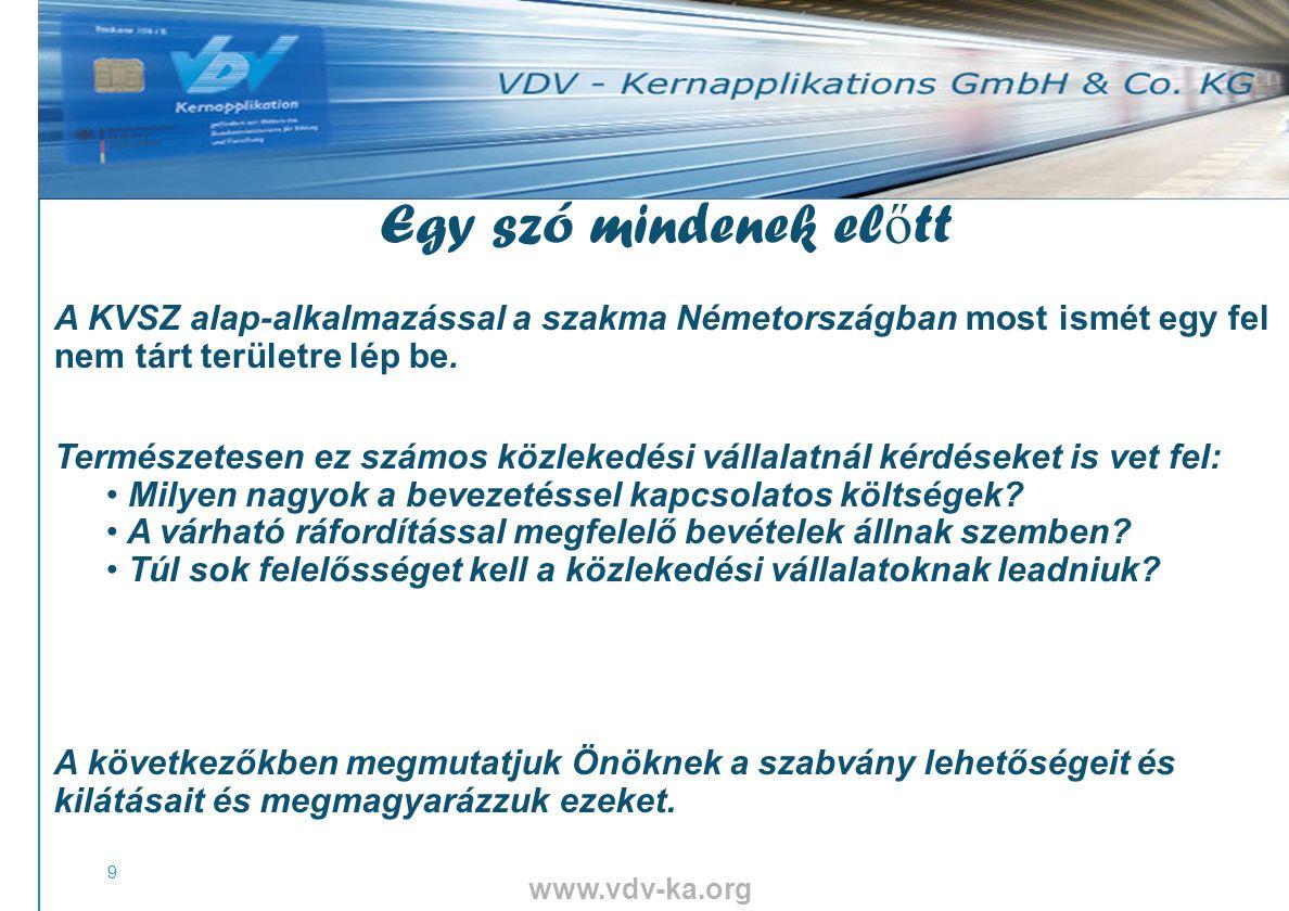 www.vdv-ka.org 9 Egy szó mindenek el ő tt A KVSZ alap-alkalmazással a szakma Németországban most ismét egy fel nem tárt területre lép be.