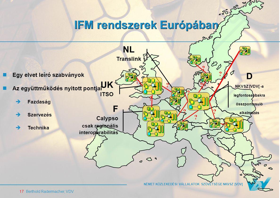 NÉMET KÖZLEKEDÉSI VÁLLALATOK SZÖVETSÉGE NKVSZ [VDV] 17 Berthold Radermacher, VDV IFM rendszerek Európában UK ITSO D NKVSZ [VDV[ -a legfontosabbakra összpontosuló alkalmazás NL Translink F Calypso csak regionális interoperabilitás .