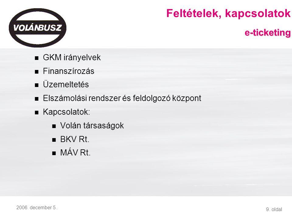 9. oldal 2006. december 5.. GKM irányelvek Finanszírozás Üzemeltetés Elszámolási rendszer és feldolgozó központ Kapcsolatok: Volán társaságok BKV Rt.