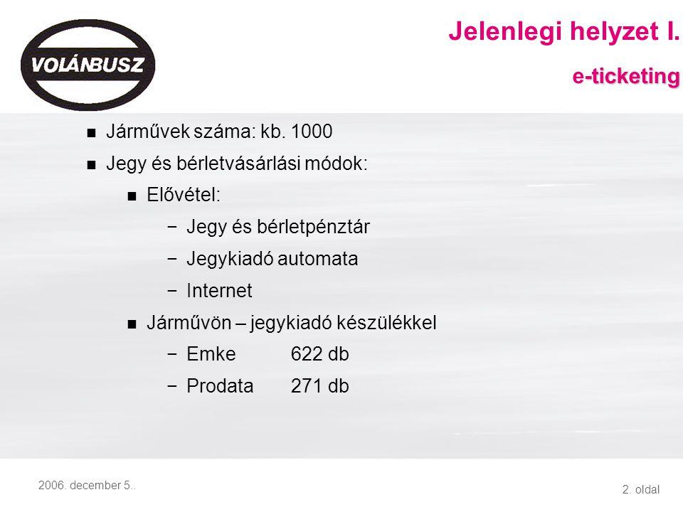 2. oldal 2006. december 5.. Járművek száma: kb. 1000 Jegy és bérletvásárlási módok: Elővétel: −Jegy és bérletpénztár −Jegykiadó automata −Internet Jár