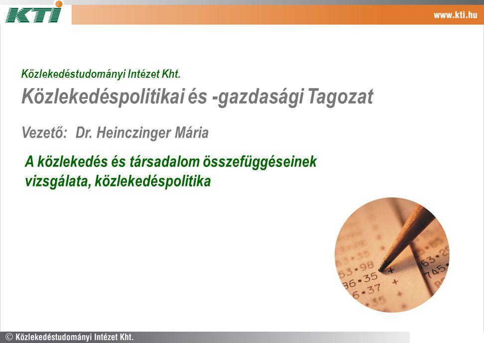 Közlekedéstudományi Intézet Kht. Közlekedéspolitikai és -gazdasági Tagozat Vezető: Dr. Heinczinger Mária A közlekedés és társadalom összefüggéseinek v