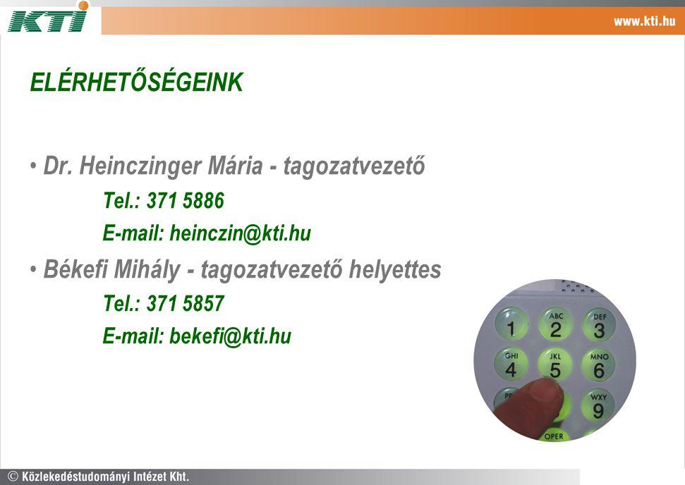 ELÉRHETŐSÉGEINK Dr. Heinczinger Mária - tagozatvezető Tel.: 371 5886 E-mail: heinczin@kti.hu Békefi Mihály - tagozatvezető helyettes Tel.: 371 5857 E-