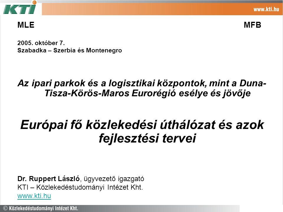 MLE MFB 2005. október 7. Szabadka – Szerbia és Montenegro Az ipari parkok és a logisztikai központok, mint a Duna- Tisza-Körös-Maros Eurorégió esélye