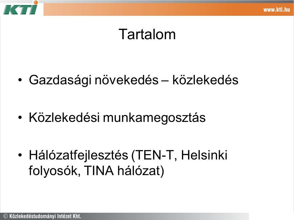 Tartalom Gazdasági növekedés – közlekedés Közlekedési munkamegosztás Hálózatfejlesztés (TEN-T, Helsinki folyosók, TINA hálózat)