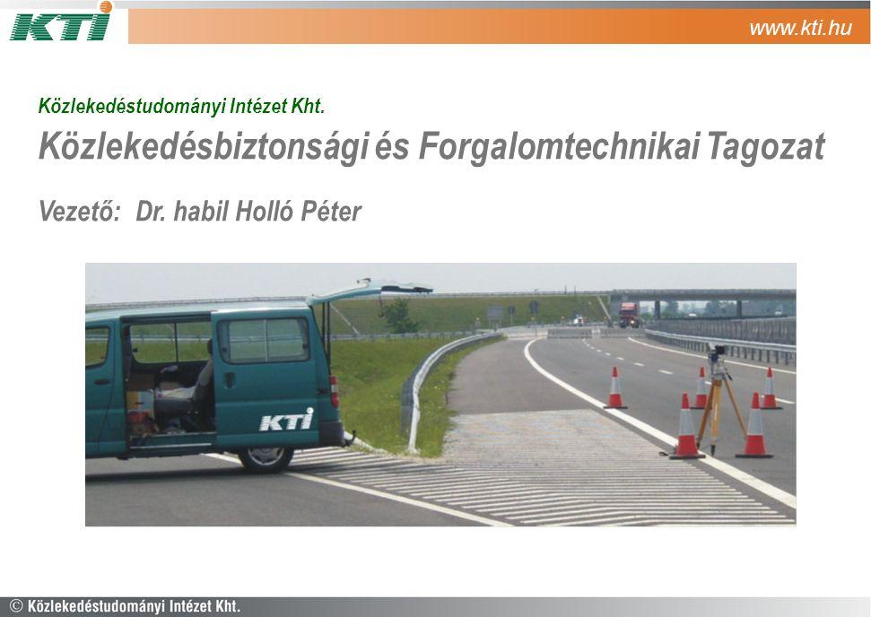 Közlekedéstudományi Intézet Kht. Közlekedésbiztonsági és Forgalomtechnikai Tagozat Vezető: Dr. habil Holló Péter www.kti.hu