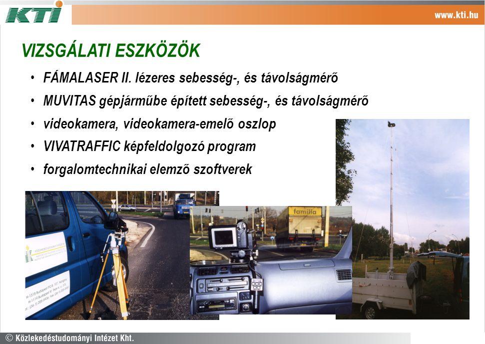 VIZSGÁLATI ESZKÖZÖK FÁMALASER II. lézeres sebesség-, és távolságmérő MUVITAS gépjárműbe épített sebesség-, és távolságmérő videokamera, videokamera-em