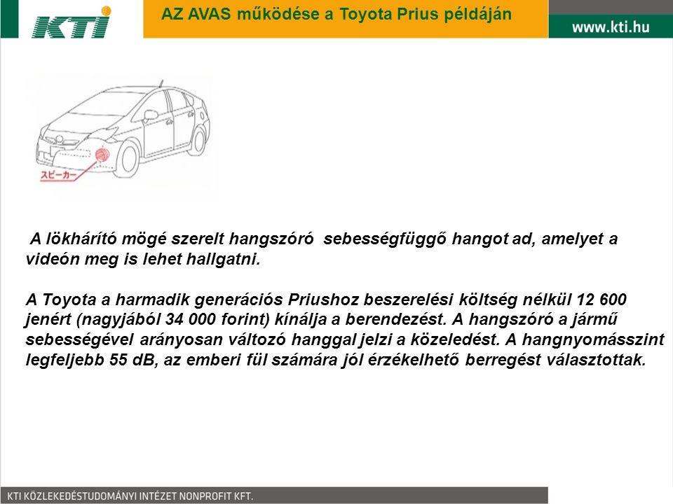 9 AZ AVAS működése a Toyota Prius példáján A lökhárító mögé szerelt hangszóró sebességfüggő hangot ad, amelyet a videón meg is lehet hallgatni.