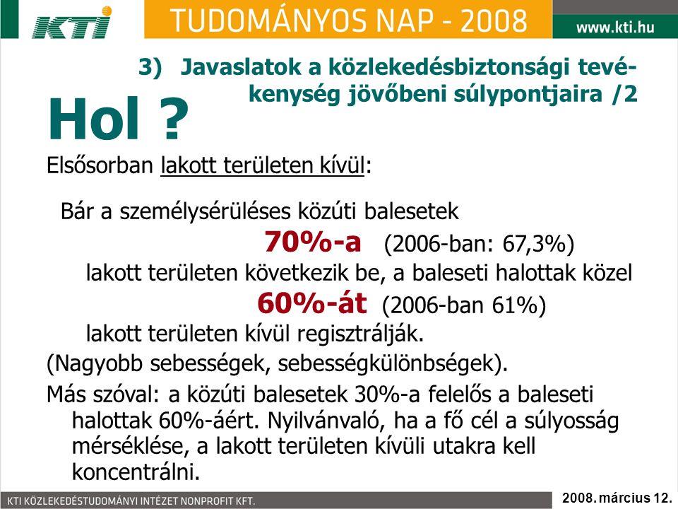 Hol ? 3)Javaslatok a közlekedésbiztonsági tevé- kenység jövőbeni súlypontjaira /2 Elsősorban lakott területen kívül: Bár a személysérüléses közúti bal