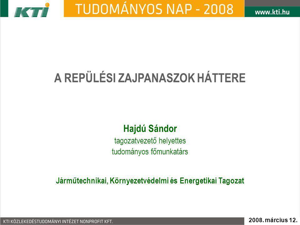A REPÜLÉSI ZAJPANASZOK HÁTTERE Hajdú Sándor tagozatvezető helyettes tudományos főmunkatárs 2008.