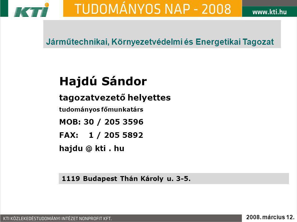 Hajdú Sándor tagozatvezető helyettes tudományos főmunkatárs MOB: 30 / 205 3596 FAX: 1 / 205 5892 hajdu @ kti.