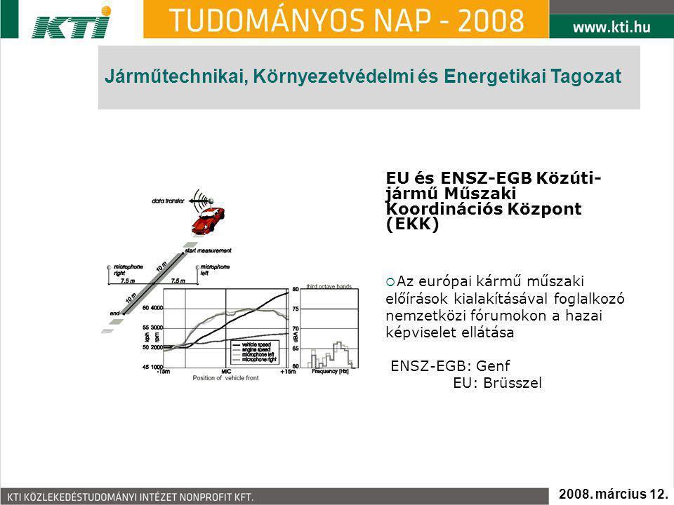 EU és ENSZ-EGB Közúti- jármű Műszaki Koordinációs Központ (EKK)  Az európai kármű műszaki előírások kialakításával foglalkozó nemzetközi fórumokon a hazai képviselet ellátása ENSZ-EGB: Genf EU: Brüsszel Járműtechnikai, Környezetvédelmi és Energetikai Tagozat 2008.