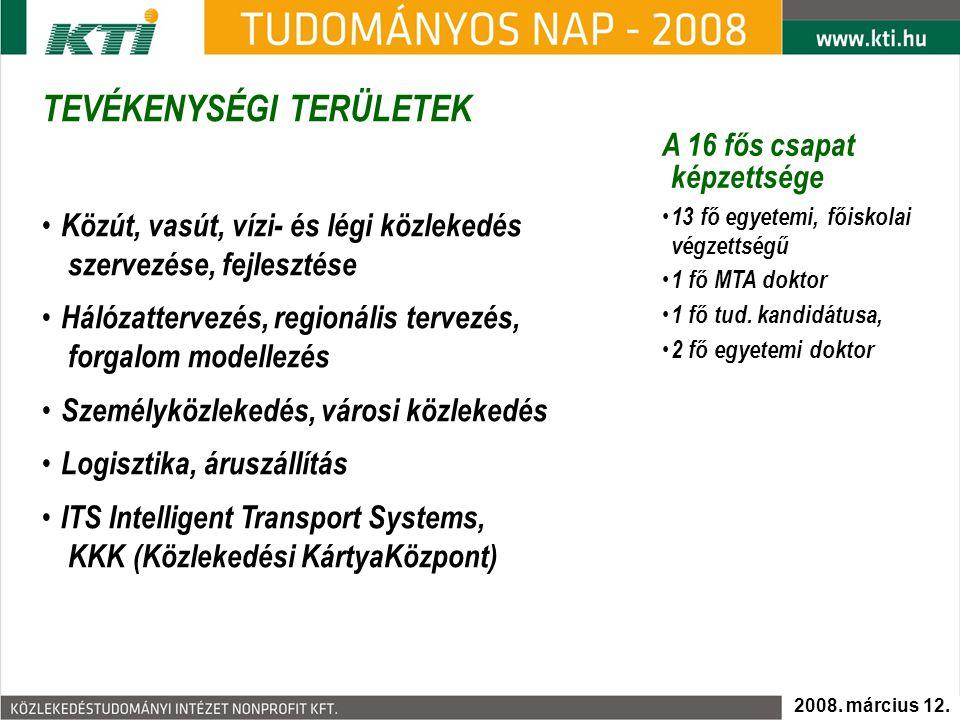 TEVÉKENYSÉGI TERÜLETEK - Személyközlekedés 2008. március 12.