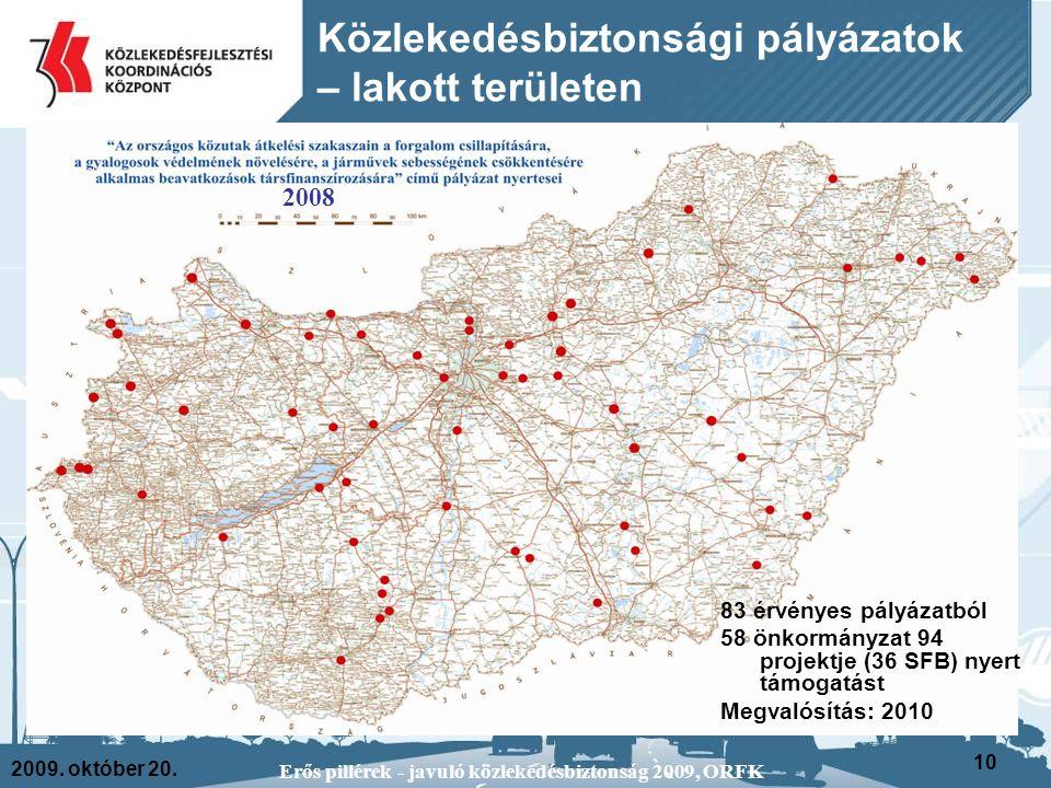 2009. október 20. Erős pillérek - javuló közlekedésbiztonság 2009, ORFK 10 83 érvényes pályázatból 58 önkormányzat 94 projektje (36 SFB) nyert támogat