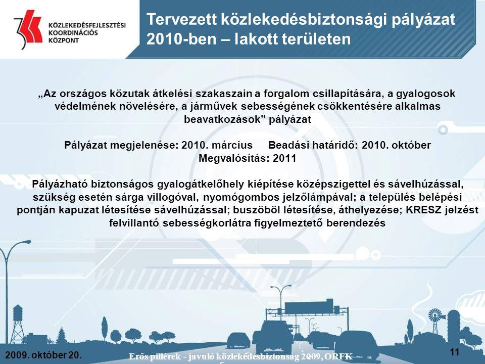 """2009. október 20. Erős pillérek - javuló közlekedésbiztonság 2009, ORFK 11 Tervezett közlekedésbiztonsági pályázat 2010-ben – lakott területen """"Az ors"""