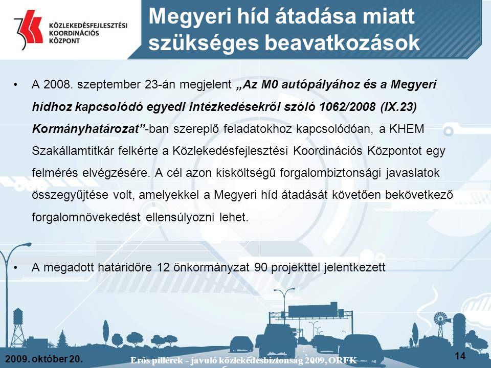2009. október 20. Erős pillérek - javuló közlekedésbiztonság 2009, ORFK 14 Megyeri híd átadása miatt szükséges beavatkozások A 2008. szeptember 23-án