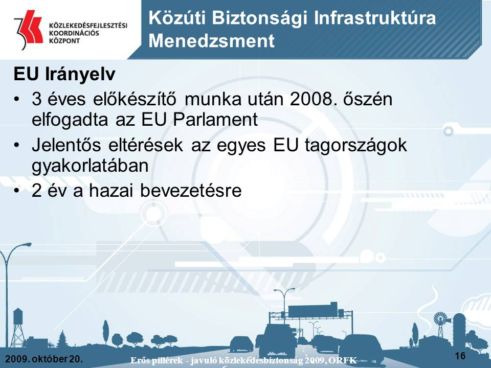 2009. október 20. Erős pillérek - javuló közlekedésbiztonság 2009, ORFK 16 EU Irányelv 3 éves előkészítő munka után 2008. őszén elfogadta az EU Parlam
