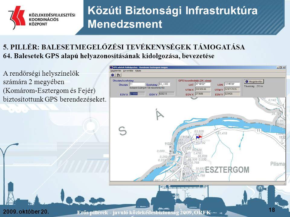 2009. október 20. Erős pillérek - javuló közlekedésbiztonság 2009, ORFK 18 Közúti Biztonsági Infrastruktúra Menedzsment 5. PILLÉR: BALESETMEGELŐZÉSI T