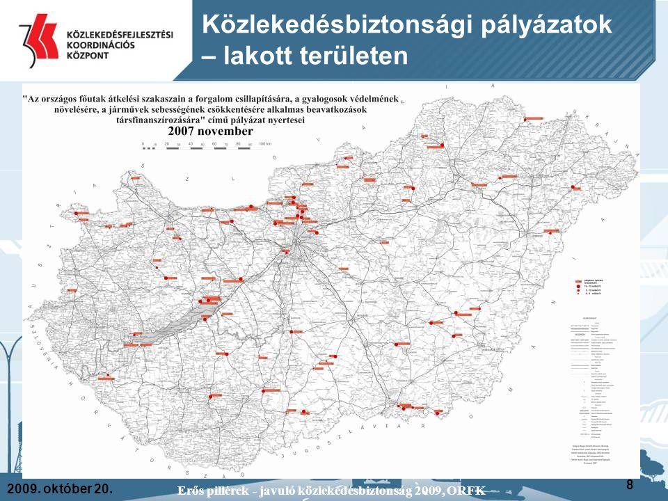 2009. október 20. Erős pillérek - javuló közlekedésbiztonság 2009, ORFK 8 Közlekedésbiztonsági pályázatok – lakott területen