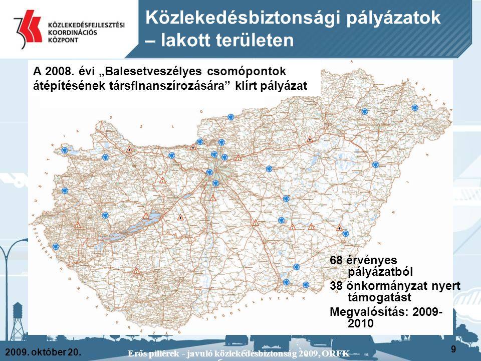 2009. október 20. Erős pillérek - javuló közlekedésbiztonság 2009, ORFK 9 68 érvényes pályázatból 38 önkormányzat nyert támogatást Megvalósítás: 2009-