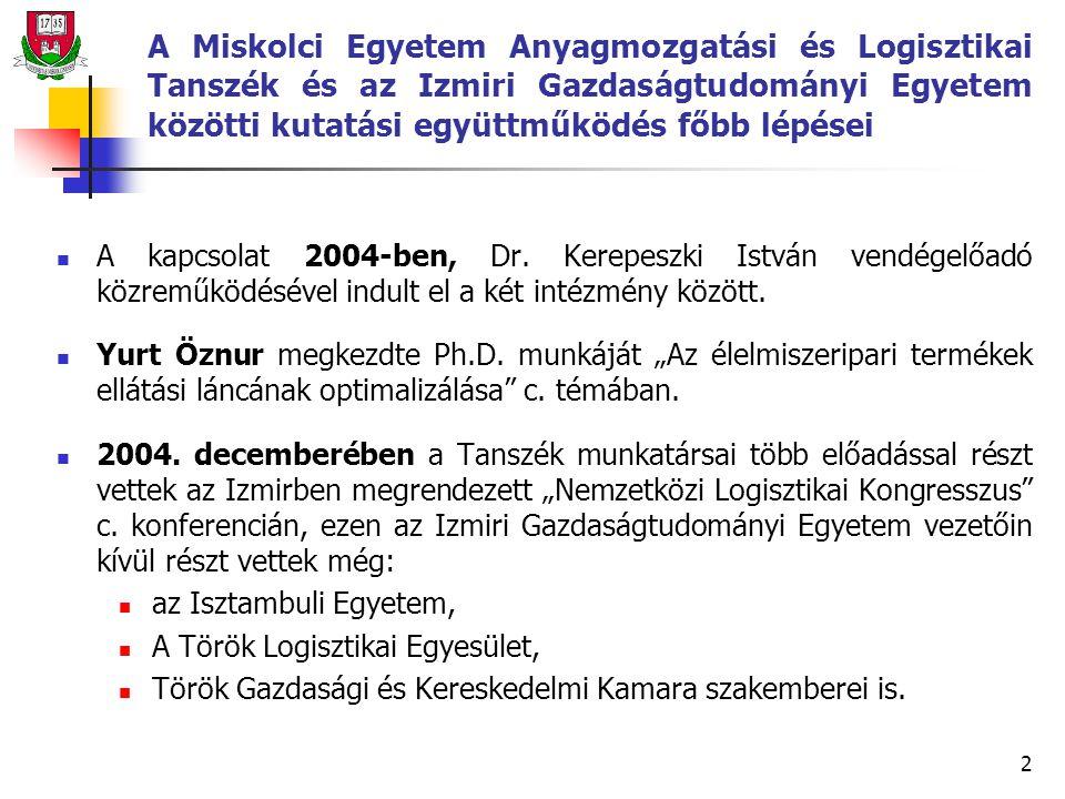 2 A Miskolci Egyetem Anyagmozgatási és Logisztikai Tanszék és az Izmiri Gazdaságtudományi Egyetem közötti kutatási együttműködés főbb lépései A kapcsolat 2004-ben, Dr.
