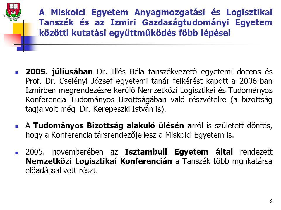 3 A Miskolci Egyetem Anyagmozgatási és Logisztikai Tanszék és az Izmiri Gazdaságtudományi Egyetem közötti kutatási együttműködés főbb lépései 2005.