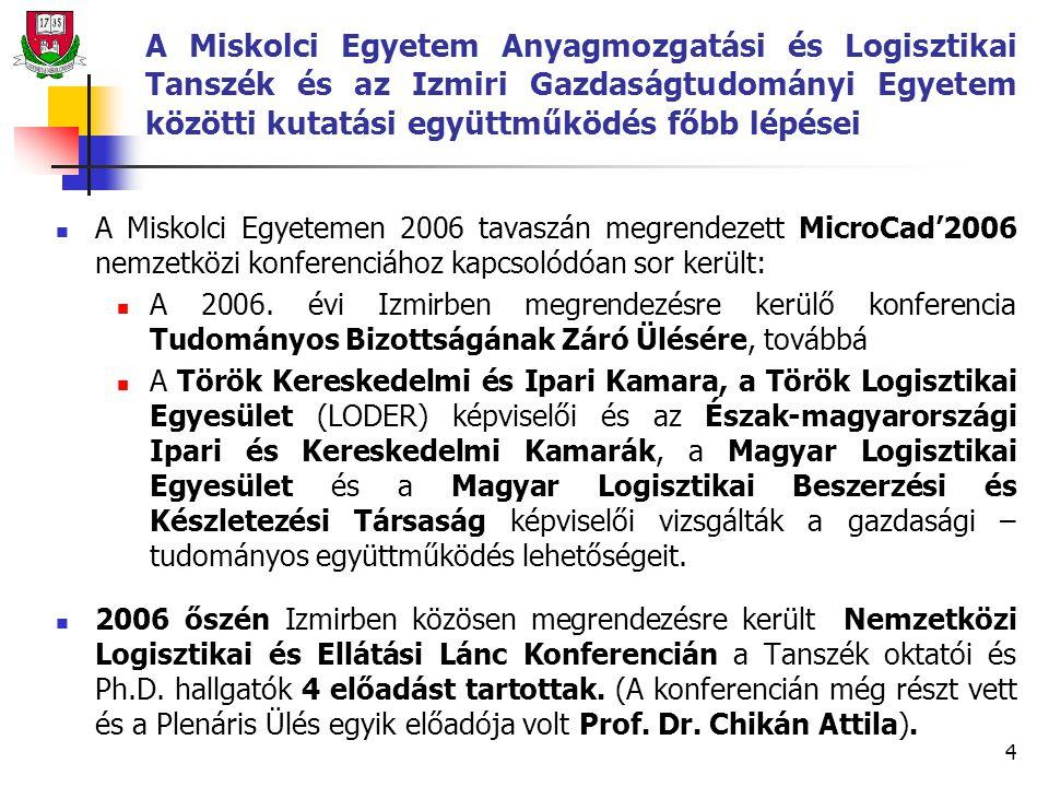 4 A Miskolci Egyetem Anyagmozgatási és Logisztikai Tanszék és az Izmiri Gazdaságtudományi Egyetem közötti kutatási együttműködés főbb lépései A Miskolci Egyetemen 2006 tavaszán megrendezett MicroCad'2006 nemzetközi konferenciához kapcsolódóan sor került: A 2006.