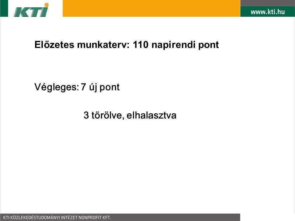 Előzetes munkaterv: 110 napirendi pont Végleges: 7 új pont 3 törölve, elhalasztva