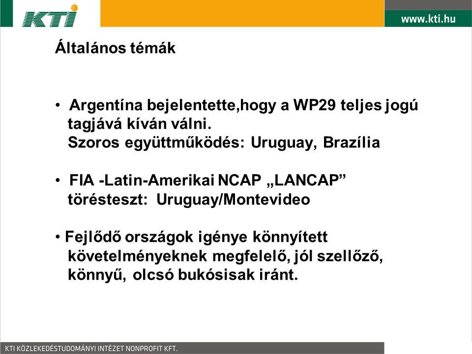 Általános témák Argentína bejelentette,hogy a WP29 teljes jogú tagjává kíván válni.